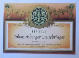 Weinetikett, Rheingau, Johannisberger Erntebringer, Steinheim am Main ♥