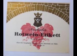 Weinetikett, Neutrales Rotwein-Etikett, Muster ♥