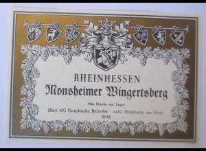 Weinetikett, Rheinhessen Monsheimer Wingertsberg ♥