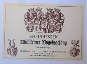 Weinetikett, Rheinhessen, Wöllsteiner Vogelsgesang ♥