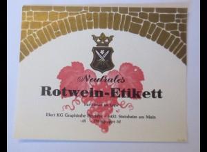 Weinetikett, Neutrales Rotwein-Etikett Muster ♥