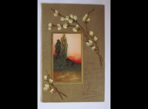 """Haus, Landschaft, Bäume, Abendrot, Weidenkätzchen"" 1909, Prägekarte ♥"