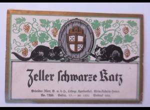 Weinetikett, Zeller Schwarze Katz, Litho. Klein-Auheim-Hanau 1900 ♥