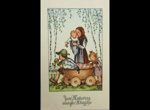Muttertag, Kinder, Mode, Kinderwagen, Trompete, 1930 ♥ (14752)