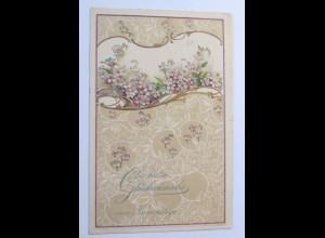 Namenstag, Blumen, 1905, Prägekarte ♥ (31279)