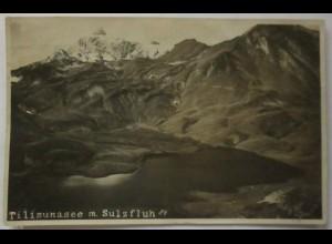 Österreich, Tilisunasee mit Sulzfluh, Fotokarte 1924 (4992)