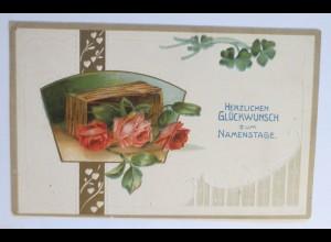 Namenstag, Korb, Rosen, Herz, Jugendstil,1913, Prägekarte ♥ (31287)