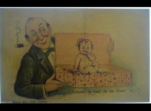 Männer, Rauchen, Kiste, Baby, 1930, Halt gegen das Licht ♥ (11624)
