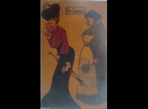 """""""Scherzkarte, Frauen, Mode, Hutmode"""" 1910, Halt gegen das Licht ♥ (16017)"""