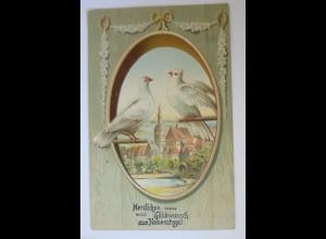 Namenstag, Tauben, Biedermeier, 1914, Prägekarte ♥ (29455)