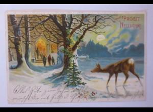Neujahr, Kirche, Rehe, Mond, 1908 ♥ (50492)