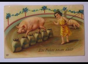 """""""Neujahr, Engel, Schwein, Münzen"""" 1908 ♥ (38917)"""