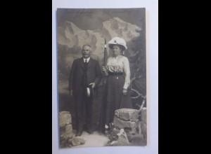 """Frauen, Männer, Mode, Hutmode, Berge, Wandern"" 1910, Fotokarte ♥"