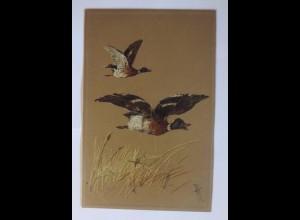 Vogel, Ente, Feld 1900, Prägekarte ♥ (58434)