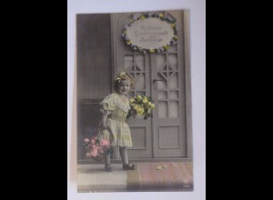 Namenstag, Kinder, Mode, Blumen, 1916 ♥ (56504)