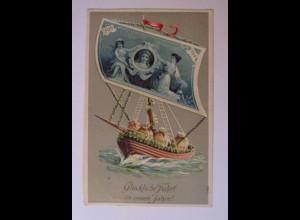 Neujahr, Geldschein, Boot, Münzen, 1913, Prägekarte ♥ (38859)