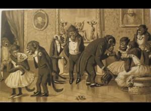 """""""Personifizierter, Vermenschlichte, Affen, Ball"""" 1900, Prägekarte ♥ (25247)"""