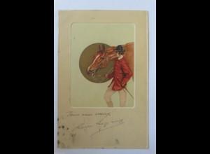 """""""Pferde, Reiter"""" 1907, Prägekarte ♥ (34662)"""