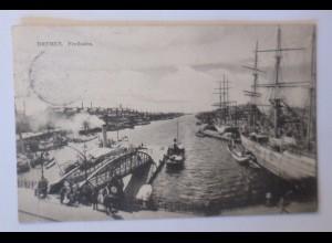 Schiffe, Bremen, Freihafen, 1908 ♥