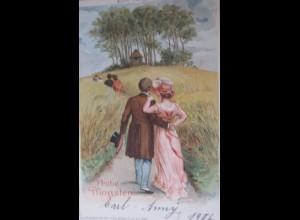 Pfingsten, Frauen, Männer, Herzenshügel, 1906 ♥ (24287)