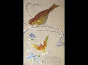 """Vogel, Blumen"" 1913, Prägekarte ♥ (29154)"