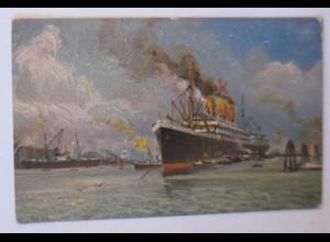 Schiffe, Im Hamburger Hafen, Von Geo M. Meinzolt, 1908, Degi-Gemälde ♥