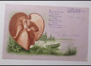 Gruß aus, Herz, Männer, Frauen, Spruch, See, Boot, 1900 ♥ (44197)