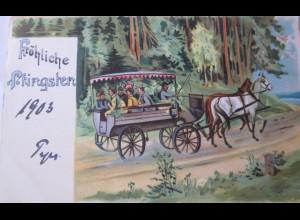 Pfingsten, Kutsche, Feiern, Männer, Frauen, 1903 ♥ (24278)