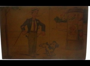 """""""Männer, Hund, Bein, Pinkeln, Litfaßsäule"""" 1910 ♥ (5641)"""