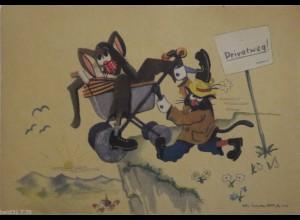 """Scherzkarte, Karikatur, Hund, Katze"" 1945 ♥"