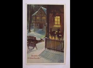 Weihnachten, Haus, Rehe, 1914, Ludwig Fromm ♥ (38110)