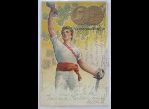 Schweiz, Sportfest, Gold-Münzen, Vaterland nur dir, Prägedruck 1902