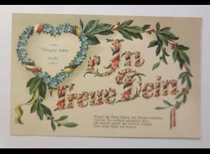 Blumen, In Treue Dein, Herz, Spruch, 1916, Prägekarte ♥