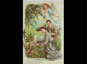 Engel, Frauen, Männer, Grab, Elterngrab, 1908, Prägekarte ♥ (9796)