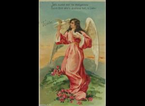 Engel, Tauben, Landschaft, Liebe, 1917, Prägekarte ♥ (5988)