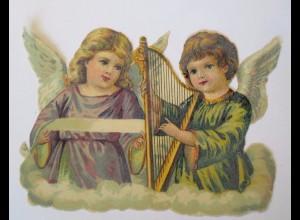 Oblaten, Engel, Harfe, 1900, 11,5 cm x 8 cm ♥ (45927)