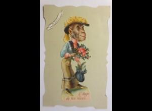 Oblaten auf der Karte, Affe, 1908 ♥ (2506)