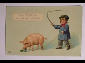 """""""Neujahr, Kinder, Schwein"""" 1909 ♥ (38371)"""