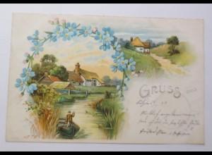 Gruß aus, Dorf, Bach, Boot, Vergissmeinnicht, 1899 ♥ (32543)