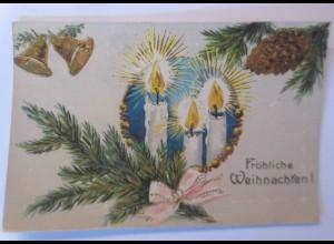 Weihnachten, Tannenzweig, Kerzen, Glocken, 1908, Golddruck ♥ (66467)