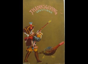 Thanksgiving, Truthahn, Soldat, Gewehr, 1909, Goldprägekarte ♥ (15075)
