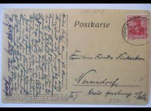 D.Reich, Bahnpost Bremen Thedinghausen, Ansichtskarte 1921 (38060)