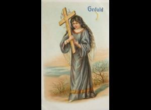 """Geduld, Religion, Frau mit Kreuz"" ca.1900, Serie A.T.S. B. 178 ♥ (715)"