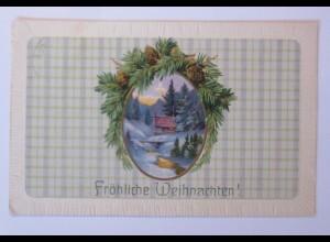 Weihnachten, Winterlandschaft, Hütte, Tannenzweig, 1914, Prägekarte ♥ (66493)