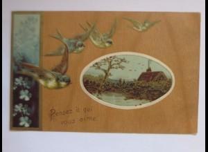 Neujahr, Vogel, Landschaft, Haus, 1909, Prägekarte ♥ (51412)