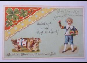 """""""Neujahr, Kinder, Schwein, Münzen, Brief, Kleeblatt"""" 1905 ♥ (716)"""