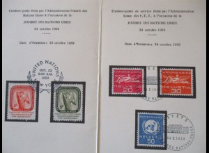 UNO Genf und New York, Klappkarte 1959 mit Marken