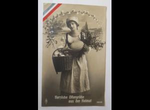 Ostern, Frauen, Korb, Ostereier, 1916 ♥ (22621)