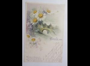 Gruß aus, Blumen, Brücke, Dorf, Spruch, 1902 ♥ (45550)
