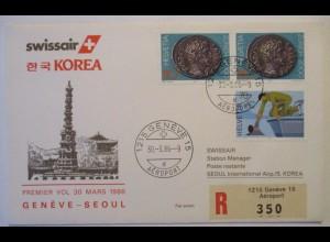 Schweiz Swissair Erstflug Genf Seoul Korea 1986